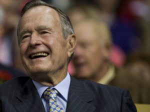 Former President George H.W. Bush smiles during the second day of the Republican National Convention at the Xcel Center in St. Paul, Minnesota. Photo by Ramin Talaie/Corbis via Getty Images