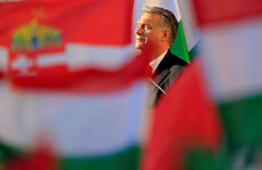 Hungarian Prime Minister Viktor Orban speaks during his campaign closing rally in Szekesfehervar, Hungary, April 6, 2018. REUTERS/Bernadett Szabo