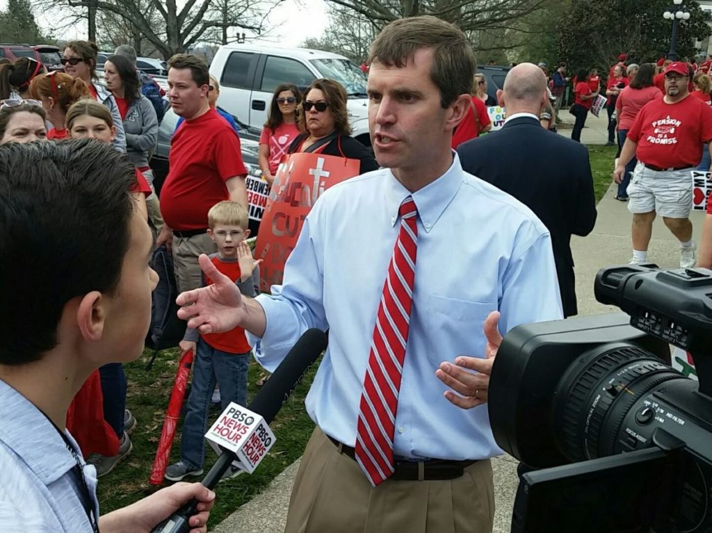 Kentucky Attorney General Andy Beshear is interviewed by 14-year old, Edward of the PBS NewsHour Student Reporting Labs, at the state Capitol on Friday, April 13, 2018. Photo by Panther Media