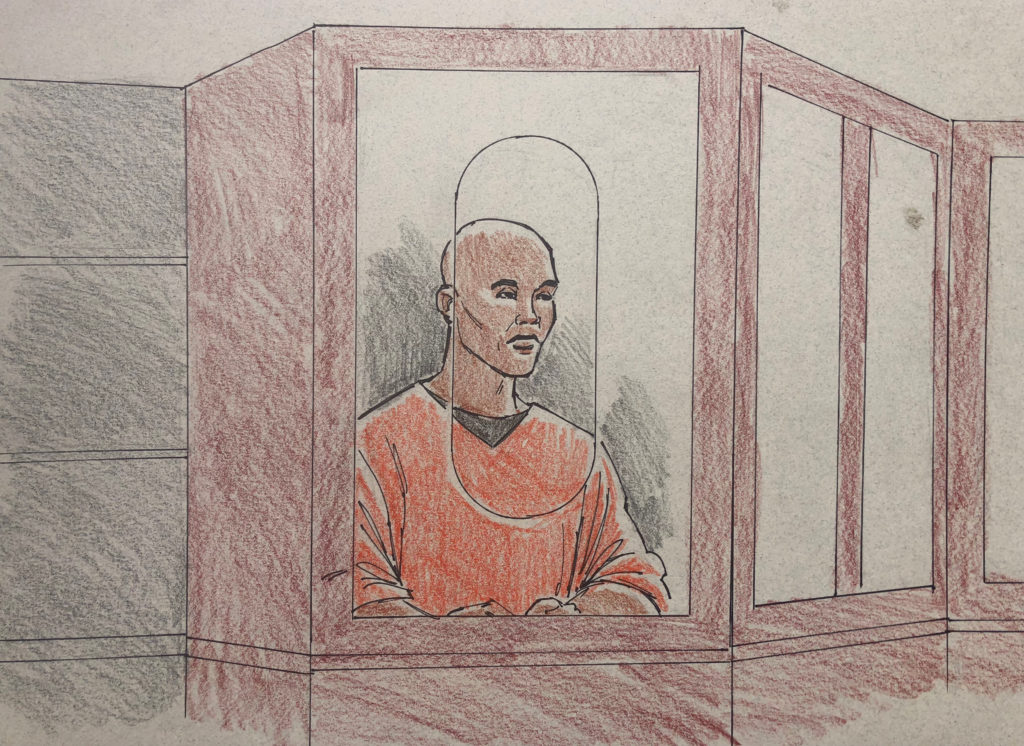 A courtroom sketch showing former Minnesota police officer Mohammed Noor, 32, charged with the fatal shooting of unarmed Australian Justine Damond last July, during a bail hearing in Hennepin County District Court in Minneapolis, Minnesota, March 21, 2018.  REUTERS/Cedric Hohnstadt  NO RESALES, NO ARCHIVE - RC12BE09DBB0
