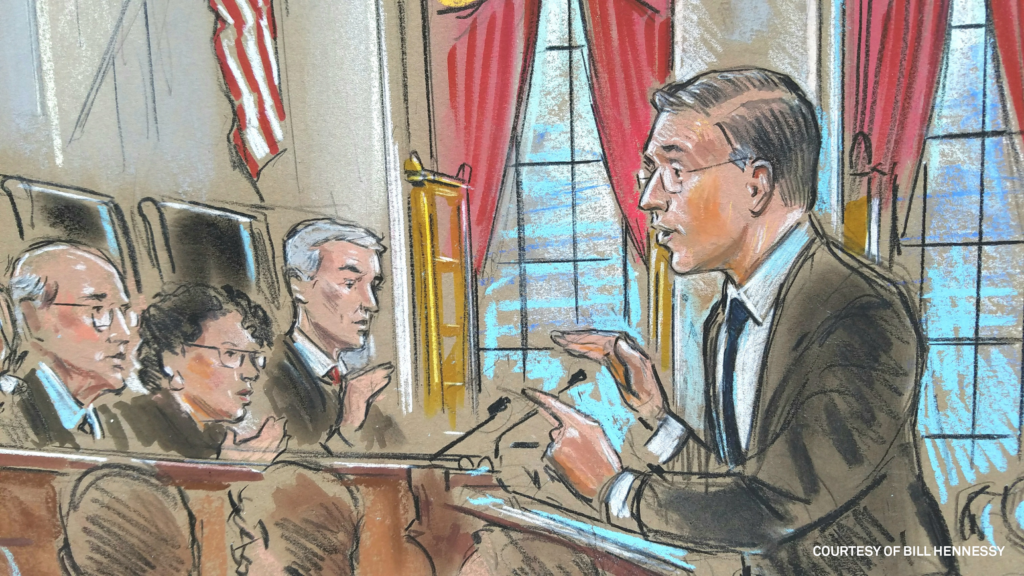 Attorney Neal Katya before the Supreme Court justices. Court sketch by Bill Hennessy