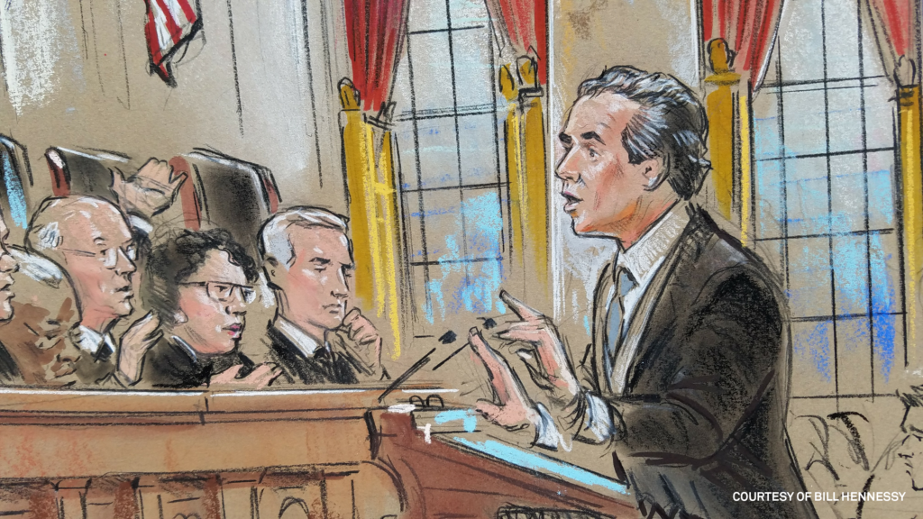 Solicitor General Noel Francisco before the Supreme Court justices. Court sketch by Bill Hennessy