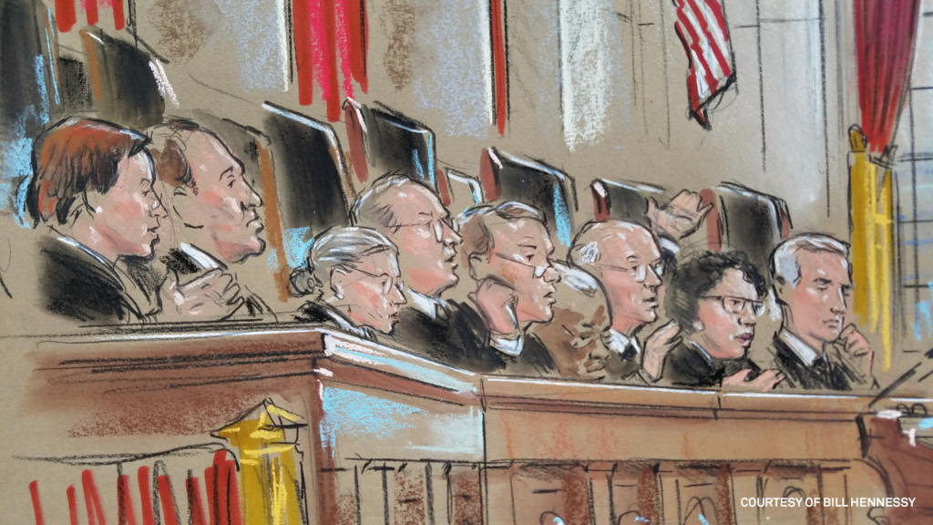 Court sketch by Bill Hennessy