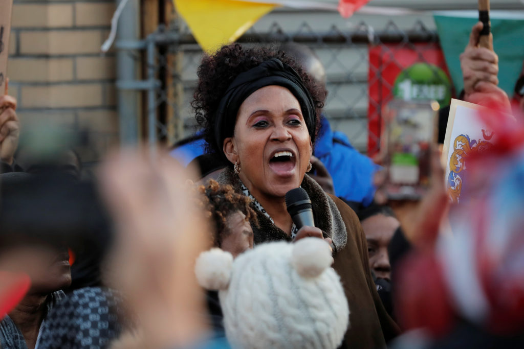 Lorna Vassell, mother of Saheed Vassell speaks at a demonstration protesting his death after he was shot by New York Polic...