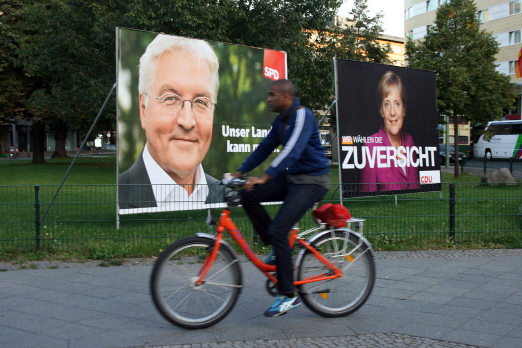 Posters for Frank-Walter Steinmeier and Angela Merkel line the streets of Berlin in September 2009. Photo by Larisa Epatko/PBS NewsHour