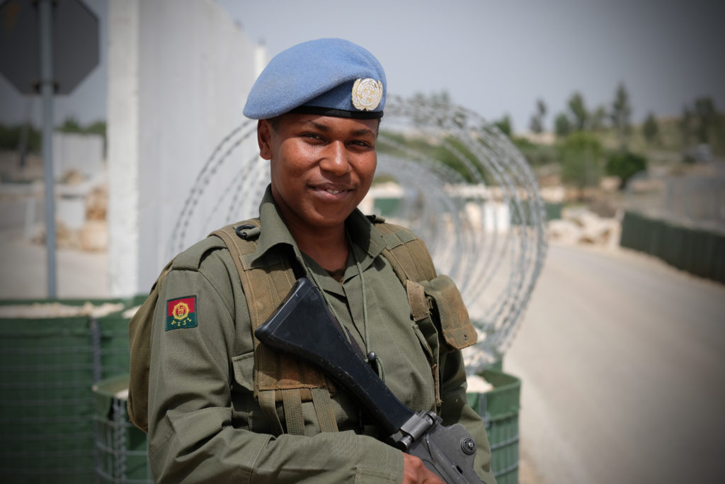 "Tikoinayevo, 21, of the Fijian Army, said, ""I joined the army to serve my country and I am very proud to be here in Lebanon as part of the peacekeeping force. But I do miss my family very much indeed, but its worth it to serve. I have not had any problems being a woman in the Fijian Army , none."" Photo by Sebastian Rich"