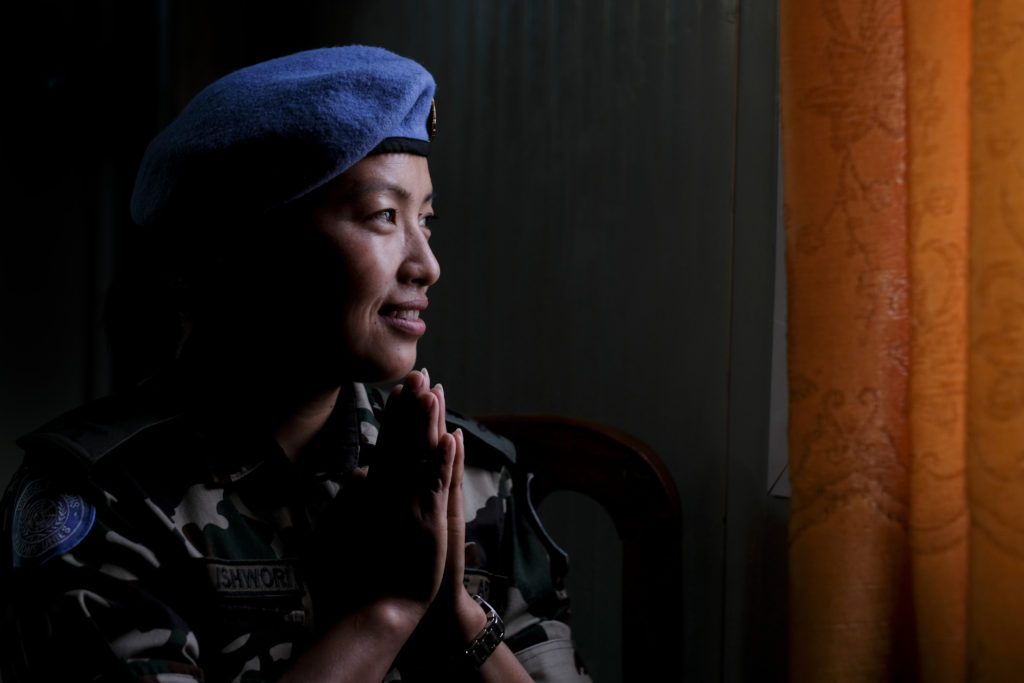 Capt. Ishwori Thakuri, 32, of the Nepalese Army and the gender officer. Photo by Sebastian Rich