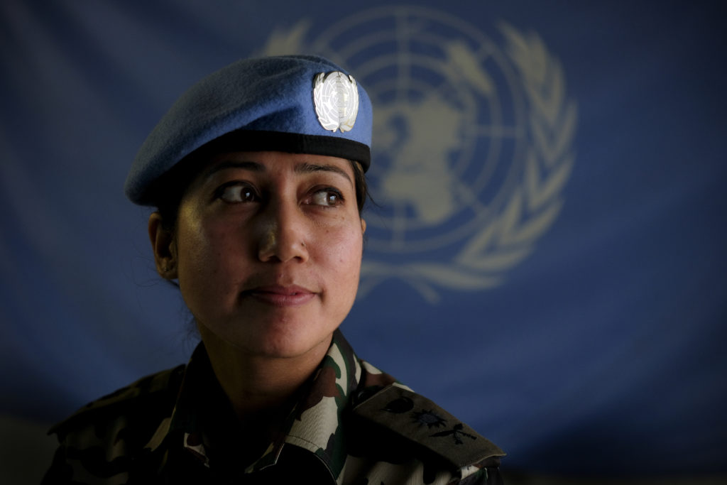 "Capt. Kamala Thapa of the Nepalese Army, said, ""Since I was 7 years old, I wanted to be a soldier and my dreams have come true becoming an army doctor. I have a daughter Bipasyana, she is 4 years old, but I have not seen her in four months. I had a very hard time in basic training keeping up with the men, especially the running. I always burst into tears when I could not keep up with them. But I made it with the help of our Lord God Shiva and I am here now to serve the Lebanese people."" Photo by Sebastian Rich"