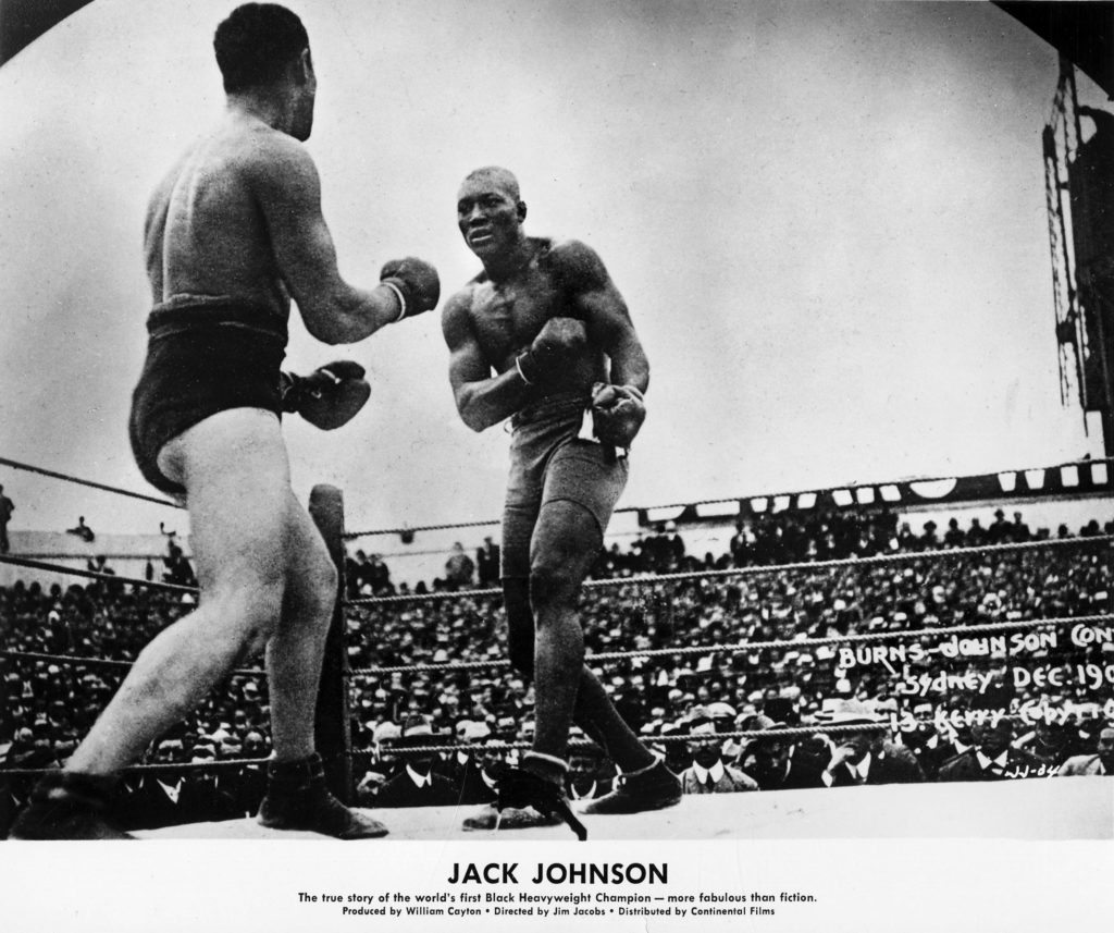 Publicity still of American boxer Jack Johnson in the boxing documentary 'Jack Johnson' (Big Fights/Continental Pictures),...