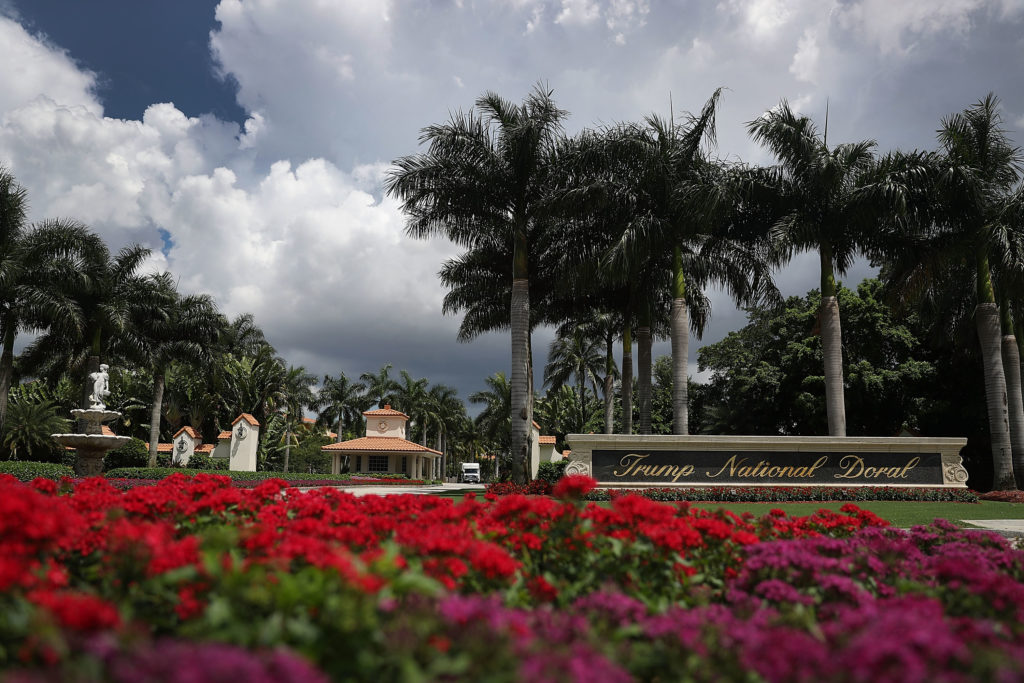 The front entrance to the Trump National Doral is seen where a golf course owned by Republican presidential candidate Donald Trump is located in Doral, Florida. Photo by Joe Raedle/Getty Images