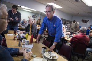 UNITED STATES - APRIL 4: Mike Braun, who is running for the Republican nomination for Senate in Indiana, talks with patrons of Bekah's Westside Cafe in Lebanon, Ind., on April 4, 2018. (Photo By Tom Williams/CQ Roll Call)
