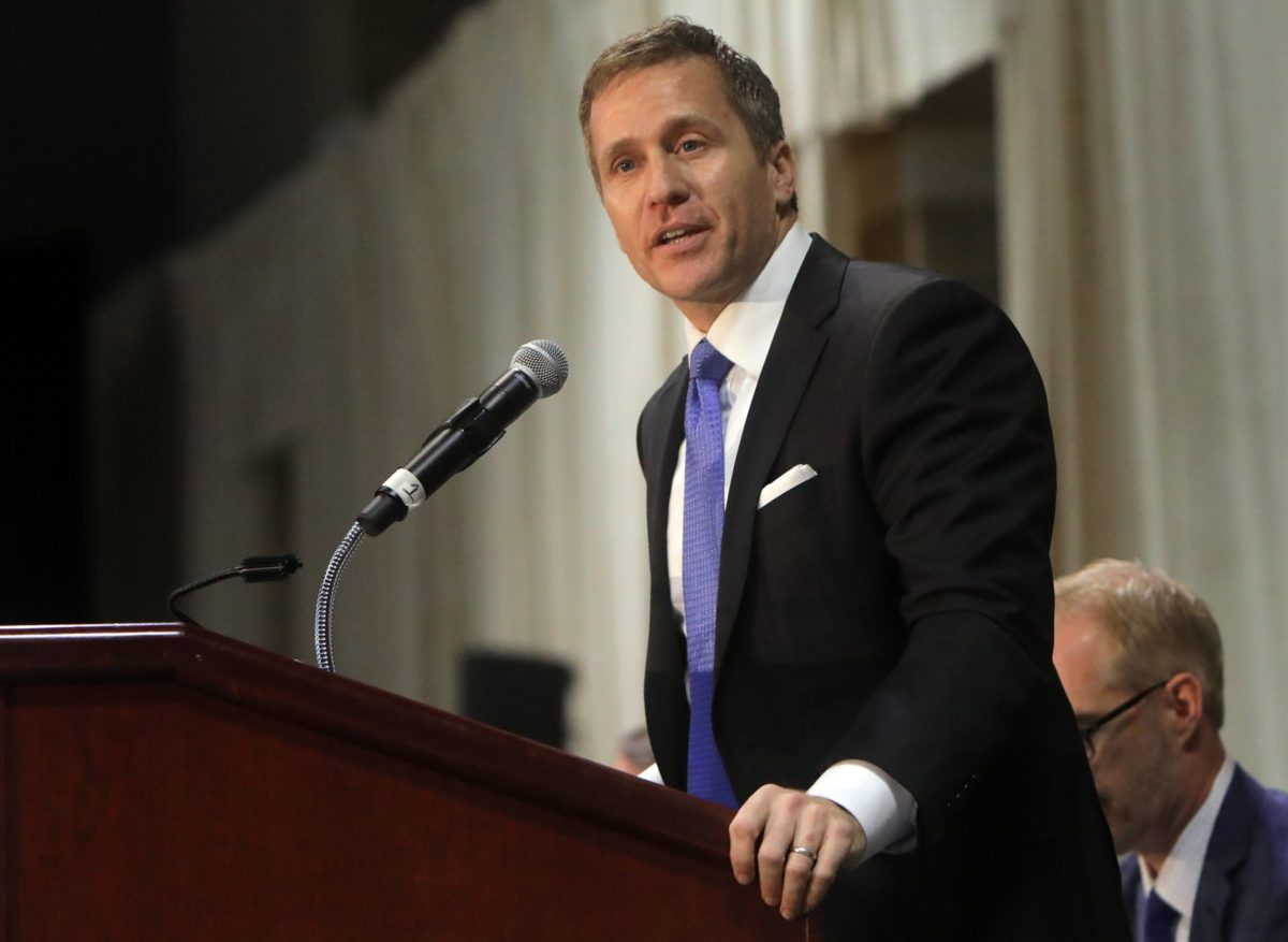 Gov. Eric Greitens delivers the keynote address at the St. Louis Area Police Chiefs Association 27th Annual Police Officer Memorial Prayer Breakfast in April 2018 at the St. Charles Convention Center. Photo by Laurie Skrivan/St. Louis Post-Dispatch/TNS via Getty Images