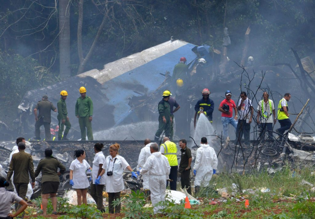 A Cubana de Aviacion aircraft crashed after taking off from Havana's Jose Marti airport. Photo by Adalberto Roque/AFP/Getty Images
