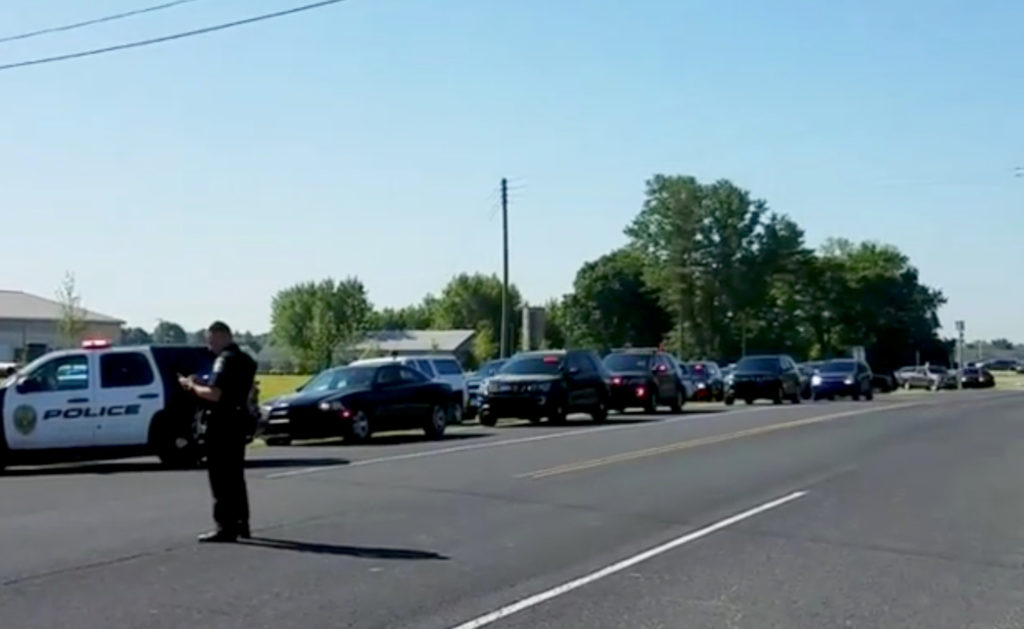 Police is seen near Noblesville West Middle School in Noblesville, Indiana, U.S., May 25, 2018 in this still image obtained from social media video. Photo by Christopher Reily/via REUTERS