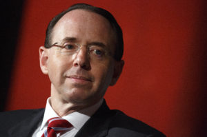Deputy Attorney General Rod Rosenstein waits to speak at the Compliance Week 13th Annual Conference in Washington, D.C. Photo by Joshua Roberts/Reuters
