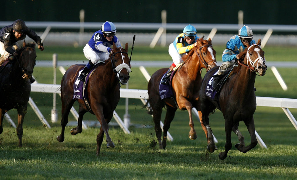 English Channel with jockey John R. Velazquez (R) drives past the field en route to winning the 2007 Breeders' Cup Turf race at Monmouth Park in Oceanport, New Jersey. Photo by Lucas Jackson/Reuters