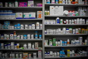 Bottles of medications line the shelves at a pharmacy in Portsmouth, Ohio, June 21, 2017.