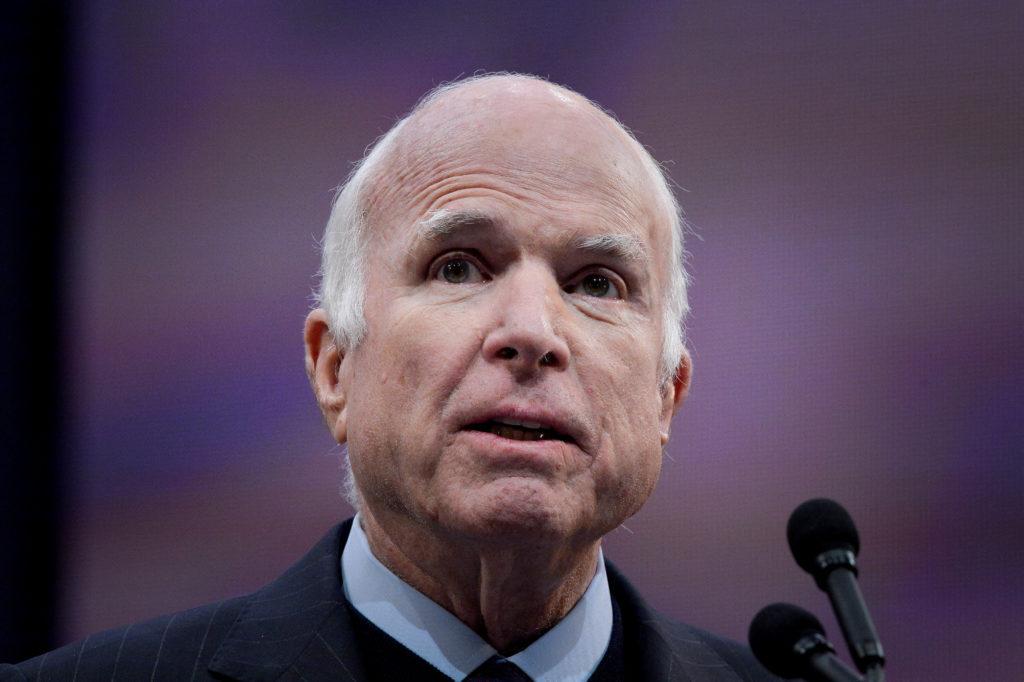 Sen. John McCain (R-Ariz.) speaks after being awarded the 2017 Liberty Medal in Philadelphia, Pennsylvania. Photo by Charl...