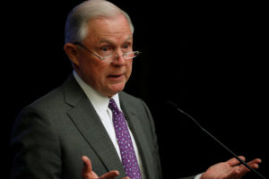 Attorney General Jeff Sessions delivers remarks at a National Sheriffs' Association opioid roundtable in May, in Washington, D.C. Photo by Jonathan Ernst/Reuters