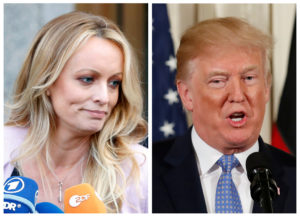A combination photo shows adult film actress Stephanie Clifford, also known as Stormy Daniels speaking in New York City, and President Donald Trump speaking in Washington, Michigan. Photos by Brendan Mcdermid (L) and Joshua Roberts (R)/Reuters