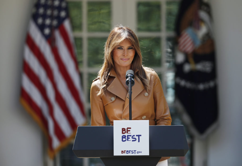 The White House said Monday that U.S. first lady Melania Trump was hospitalized to treat a benign kidney condition. File p...