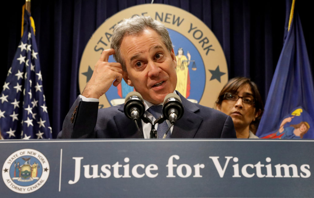 New York Attorney General Eric Schneiderman speaks during a news conference to discuss the civil rights lawsuit filed against The Weinstein Companies and Harvey Weinstein in New York, in February. Photo by Brendan McDermid/Reuters