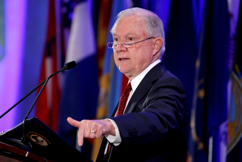 Attorney General Jeff Sessions speaks to the National Association of Attorneys General 2018 Winter Meeting in Washington, ...