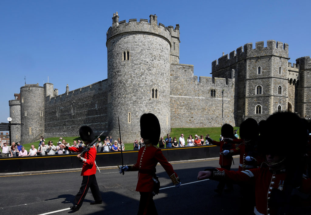 Changing of the Guard ceremony outside of Windsor Castle in Britain on May 8. Photo by Toby Melville/Reuters