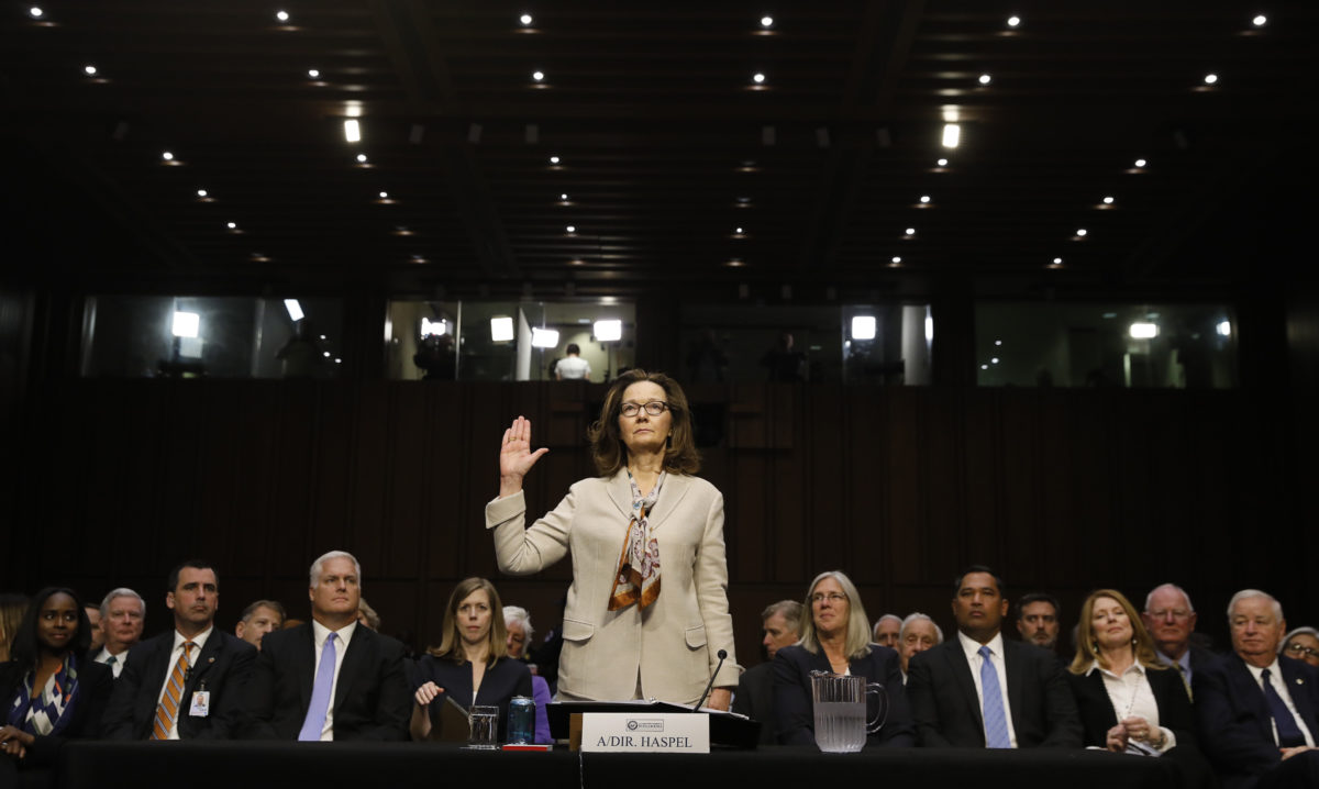 CIA director nominee and acting CIA Director Gina Haspel is sworn in prior to testifying at her Senate Intelligence Committee confirmation hearing on Capitol Hill in Washington, U.S., May 9, 2018. REUTERS/Kevin Lamarque - HP1EE5915YLWX