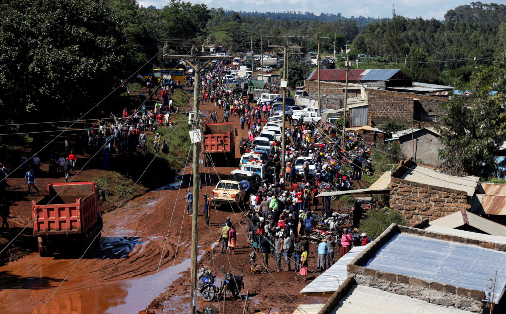 An aerial view of the damage, along with rescue crews, in a town near Nakuru, Kenya. Photo by Thomas Mukoya/Reuters