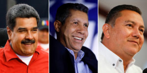 Venezuela's President Nicolas Maduro, Henri Falcon of the Avanzada Progresista party and Javier Bertucci of the Esperanza por el Cambio party are running for president. File photos by Carlos Garcia Rawlins/Rueters