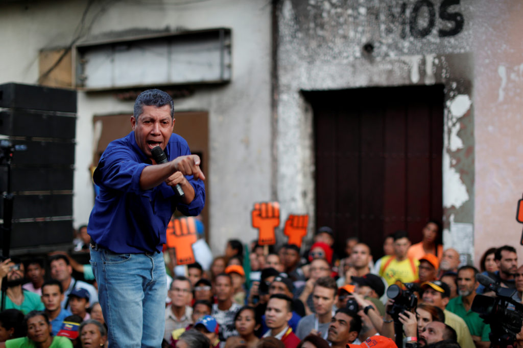 Venezuelan presidential candidate Henri Falcon of the Avanzada Progresista party at a campaign rally in Caracas on May 14. File photo by Carlos Garcia Rawlins/Reuters