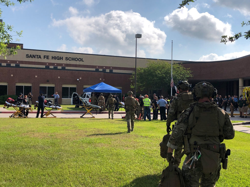 Law enforcement officers are responding to Santa Fe High School following a shooting incident in this Harris County Sherif...