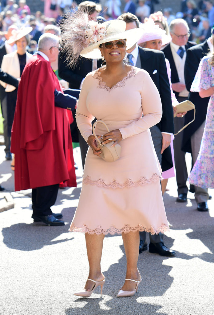Oprah Winfrey was one of the first guests to arrive at the chapel in Windsor, England. Photo by Ian West/Pool via Reuters