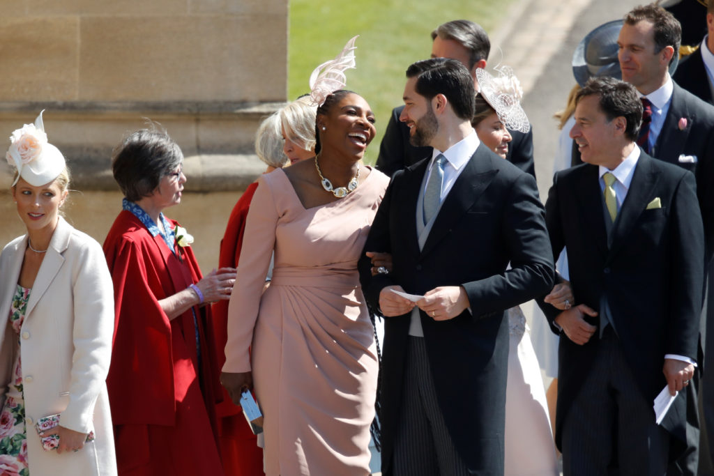 Meghan Markle's friend, U.S. tennis player Serena Williams and her husband entrepreneur Alexis Ohanian attend the nuptials. Photo by Odd Andersen/Pool via Reuters