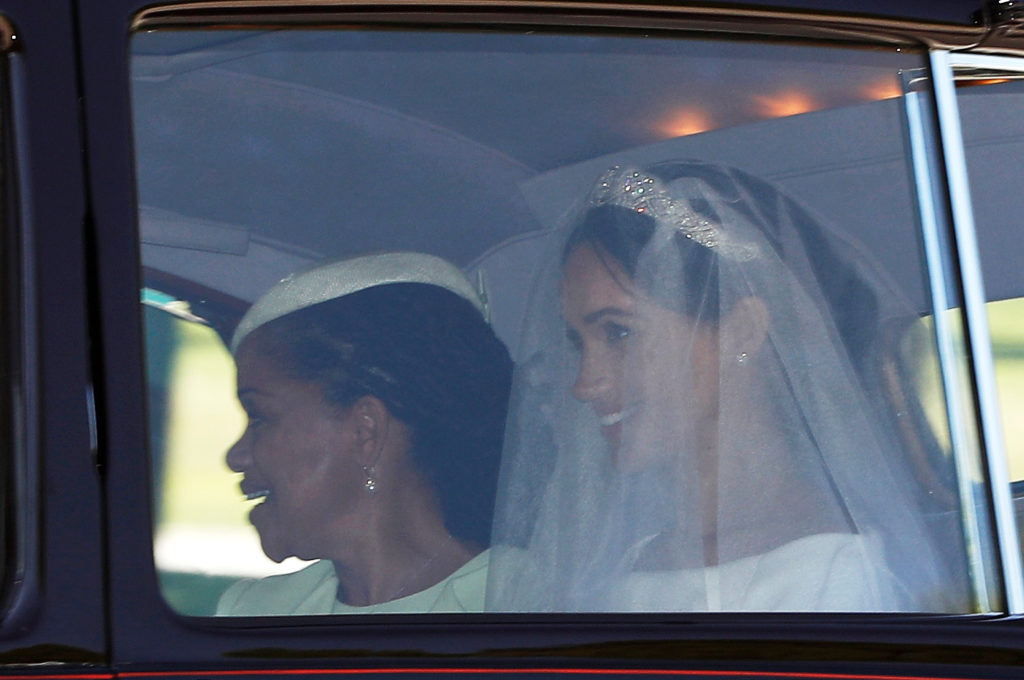 Meghan Markle rides with her mother Doria Ragland to St. George's Chapel. Photo by Darren Staples/Reuters