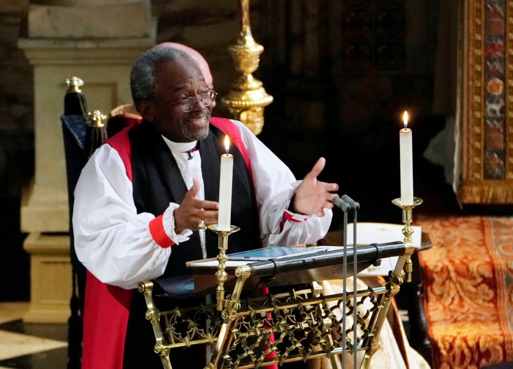 The Most Rev Bishop Michael Curry, leader of the Episcopal Church, gives an address during Prince Harry and Meghan Markle's wedding. Photo by Owen Humphreys/Pool via Reuters