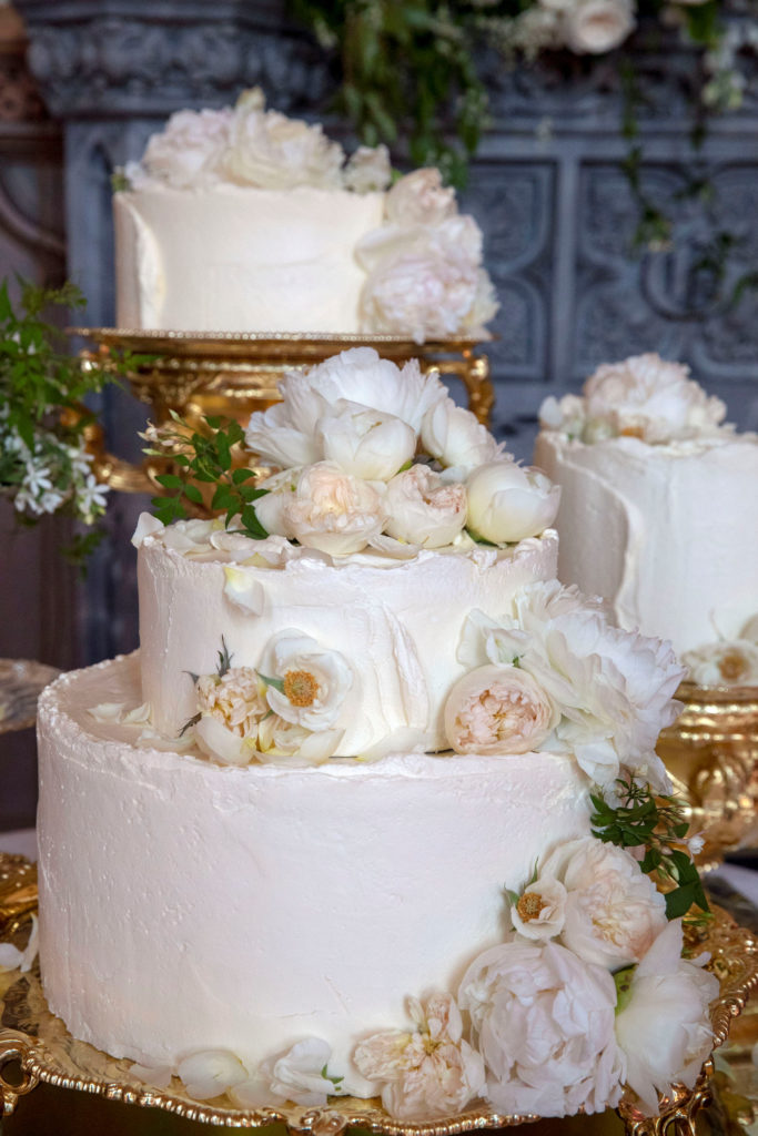 The wedding cake by Claire Ptak of London-based bakery Violet Cakes was a lemon elderflower cake with buttercream frosting. Photo byt Steve Parsons/Pool via Reuters