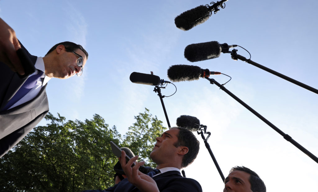 Treasury Secretary Steve Mnuchin speaks to reporters at the White House in Washington, D.C. Photo by Kevin Lamarque/Reuters