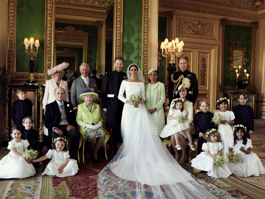 Left-to-right: back row: Jasper Dyer, Duchess of Cornwall, Prince of Wales, Prince Harry, Meghan Markle, Doria Ragland, Duke of Cambridge; middle row: Brian Mulroney, Duke of Edinburgh, Queen Elizabeth II, Duchess of Cambridge, Princess Charlotte, Prince George, Rylan Litt, John Mulroney. Front row: Ivy Mulroney, Florence van Cutsem, Zalie Warren, Remi Litt. Photo by Alexi Lubomirski/Handout via Reuters