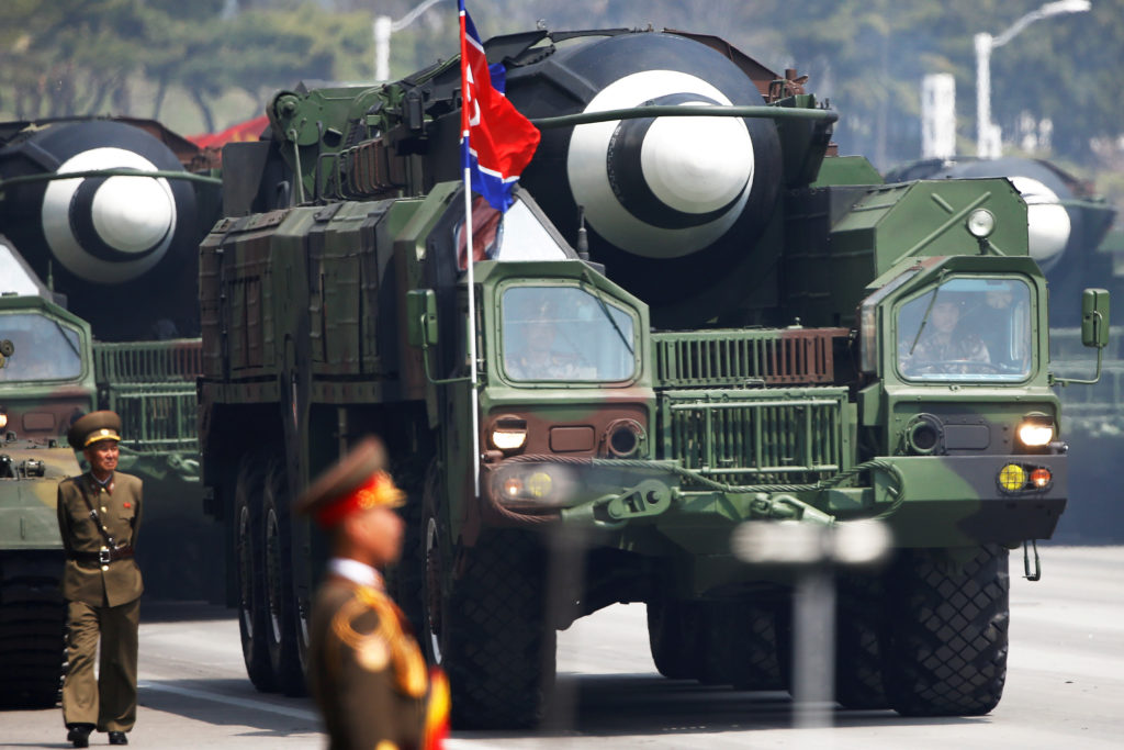 A military parade in North Korea marks the 105th anniversary of the birth of the country's founding father, Kim Il Sung in Pyongyang on April 15, 2017. File photo by Damir Sagolj/Reuters
