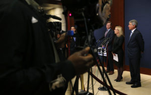 Secretary of Homeland Security Kirstjen Nielsen speaks to reporters after she, FBI Director Christopher Wray and Director of National Intelligence Daniel Coats briefed members of the House of Representatives on election security at the Capitol in Washington, D.C. Photo by Leah Millis/Reuters