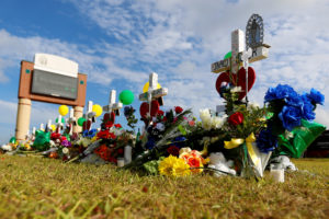 Crosses bearing the names of the victims killed in a shooting at Santa Fe High School are seen in Santa Fe, Texas. Photo by Jonathan Bachman/Reuters