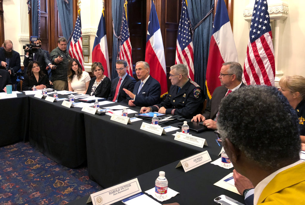 Texas Gov. Greg Abbott hosts a round table discussion, on school safety to prevent another mass shooting, at the Texas Capitol in Austin, Texas. Photo by Jon Herskovitz/Reuters