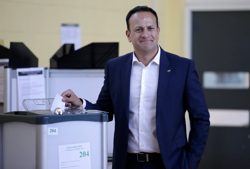 Irish Taoiseach Leo Varadkar votes as Ireland holds a referendum on liberalizing its law on abortion, in Dublin