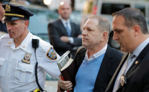 Film producer Harvey Weinstein arrives at the 1st Precinct in Manhattan in New York. Photo by Lucas Jackson/Reuters