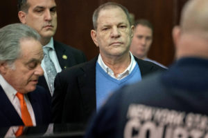 Film producer Harvey Weinstein (R) stands with his lawyer Benjamin Brafman (L) inside Manhattan Criminal Court during his arraignment in May in New York. Photo by Steven Hirsch/Reuters