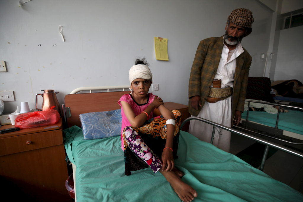 A child recovers in a hospital in Yemen's capital Sanaa after an airstrike on July 25, 2015. Photo by Mohamed al-Sayaghi/Reuters