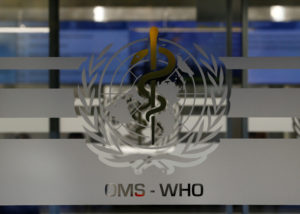 A logo is pictured on the World Health Organization (WHO) headquarters in Geneva, Switzerland, November 22, 2017. REUTERS/Denis Balibouse - RC1ED3603500