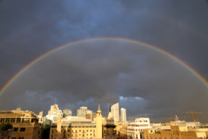 A rainbow is seen over downtown Beirut, Lebanon